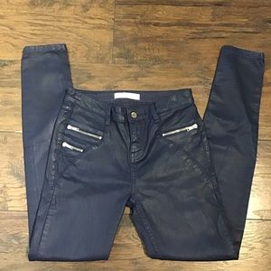 Zara Denim Skinny Blue Wax Coated Jeans size 4